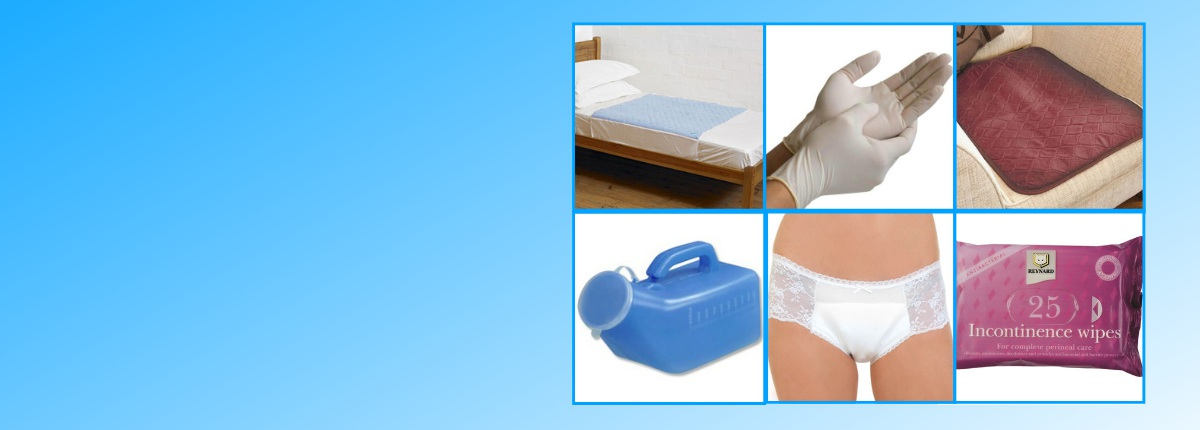 images of bladder and bowel products on a blue gradient background