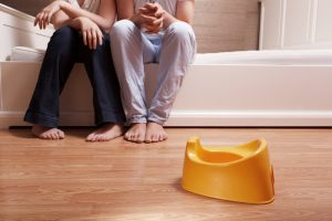 Parents thinking about toilet training children