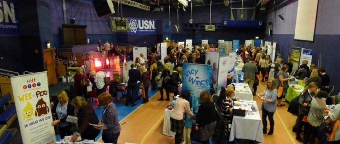 busy crowd at bladder and bowel symposium at bolton arena