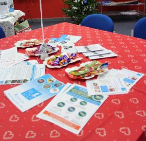 close up of leaflets, sweets and christmas table