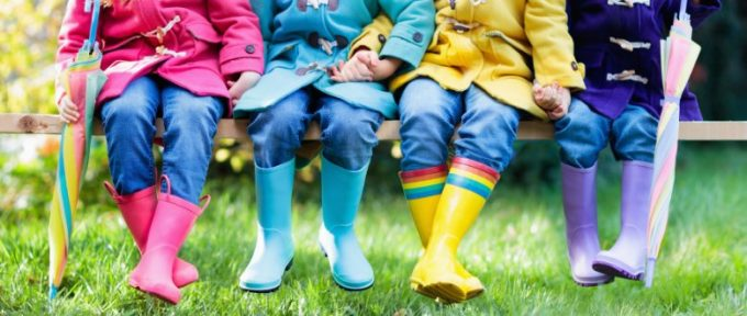 group of kids wearing wellies