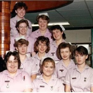 group of young nurses in the 80s, including Karen
