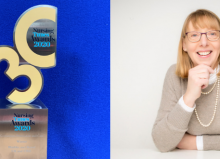 Nursing Times Award trophy and photo of Davina collage