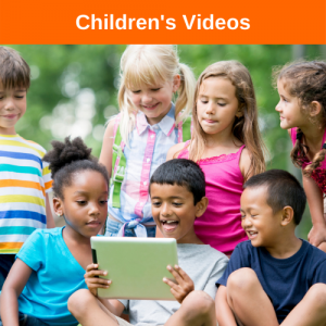 Children smiling watching a video