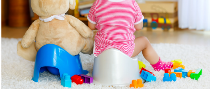 Child and teddy sitting on potty