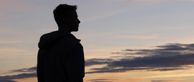 teenager against sunset